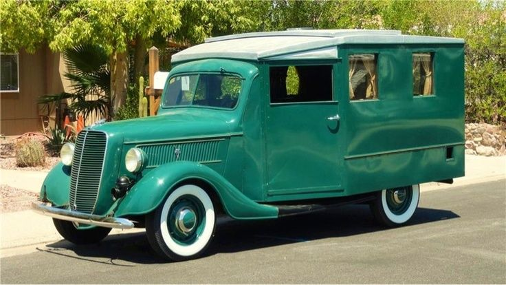 1937 Ford House Car. Ford's first attempt at creating a motorhome. This ultra-rare vehicle was built on a 1937 Ford chassis. It was produced at the St. Paul, MN Ford plant in 1937. Features a single driver's seat, adjustable window, storage cabinets, hide away table, sink, sleeping quarters and a pop up center roof for camping.