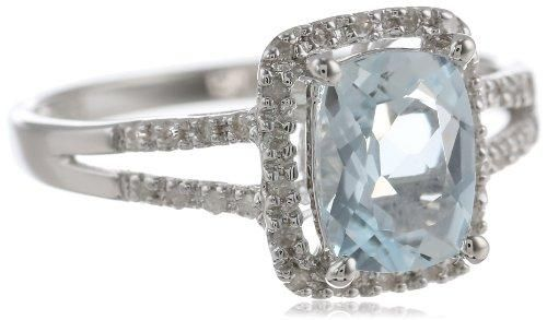 Sterling Silver Classic Aquamarine Diamond Ring (1/10cttw, I-J Color, I2-I3 Clarity), Size 7