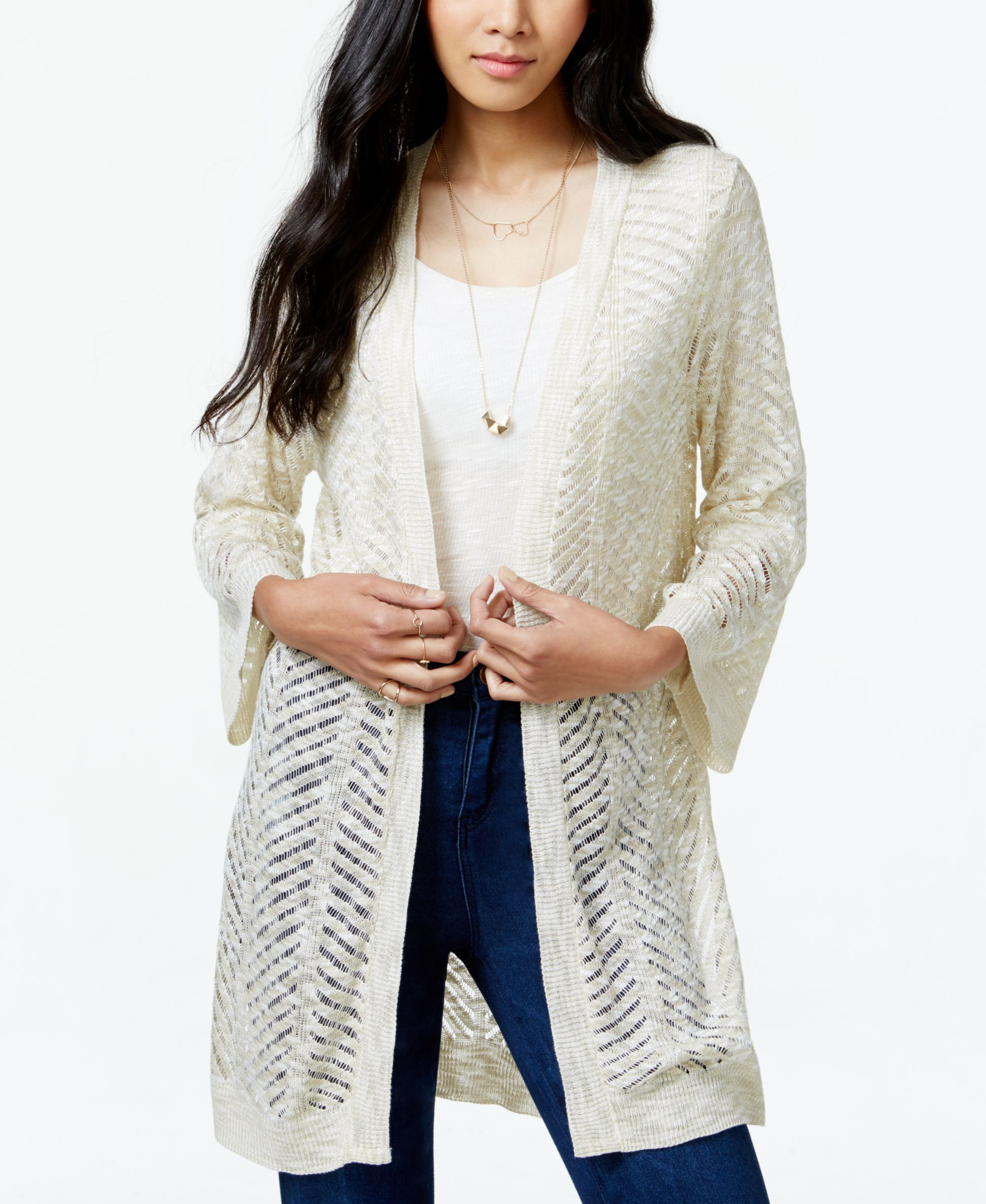 Cotton Emporium Juniors' Marled Pointelle-Knit Cardigan Sweater ...