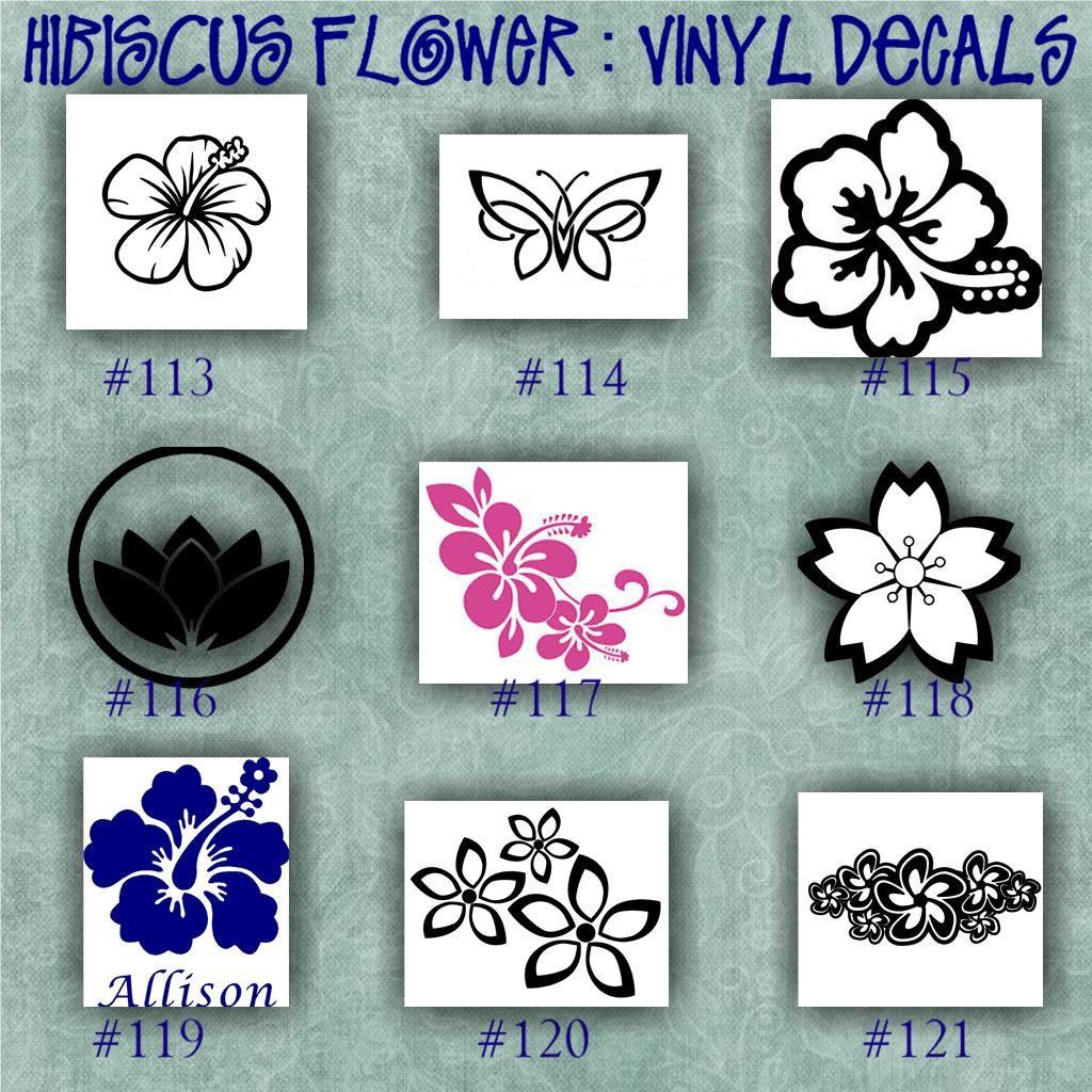 HIBISCUS FLOWER Vinyl Decal Water Bottle Decal Car Decals - Custom vinyl decals laptop