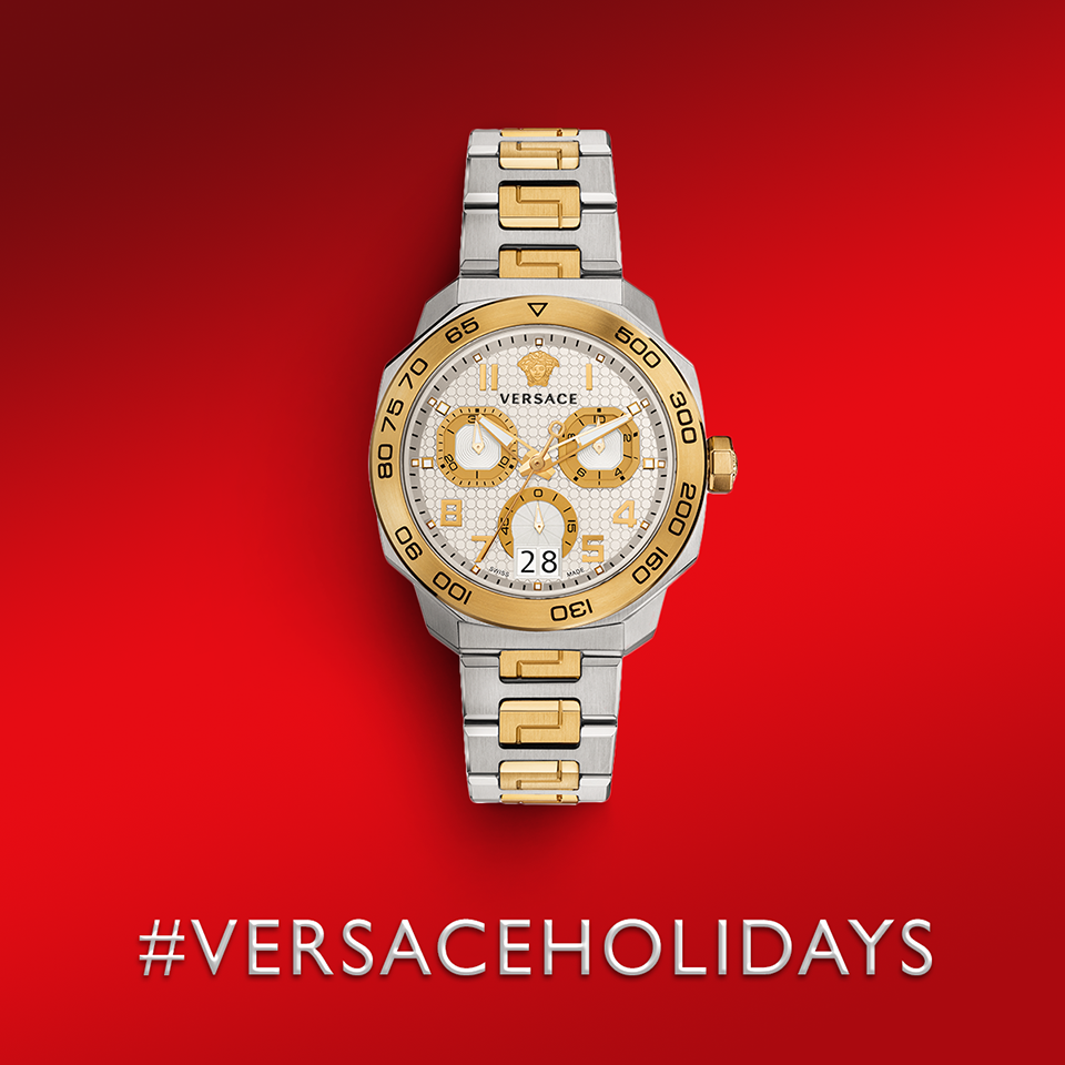 Amaze him with a gift of excellence, the gold and steel #Versace Dylos Chrono. Discover more on versace.com VERSACEHOLIDAYS #VersaceWatches