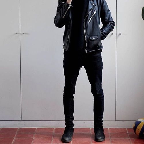 leather jacket + black jeans + boots all day every day