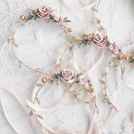 Flower crown made with gold leaves, berries, pearl petit heart, blush, ivory and... -
