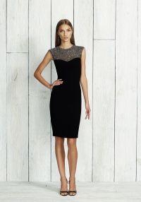 Stretch Crepe Dress - Black Stretch Crepe Cocktail Dress with Beaded Cap Sleeve Yoke.