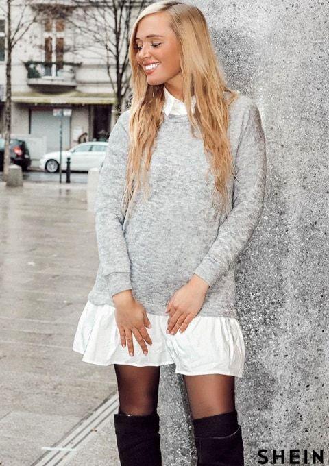 couleur attrayante à vendre recherche de liquidation Robe sweat-shirt 2 sur 1 col contrasté - gris | SHEIN ...