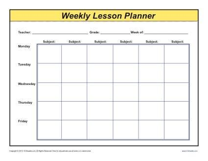 Weekly detailed multi class lesson plan template for 6 week lesson plan template