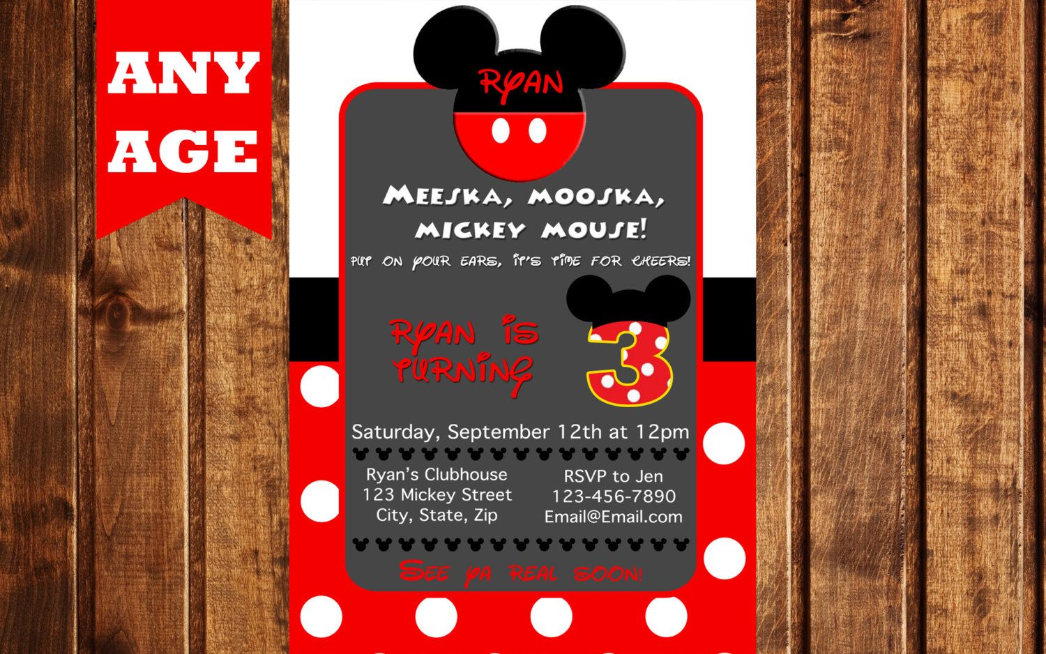 Mickey Mouse Clubhouse Birthday Invitation by LittleGermanBoutique on Etsy https://www.etsy.com/listing/245422365/mickey-mouse-clubhouse-birthday