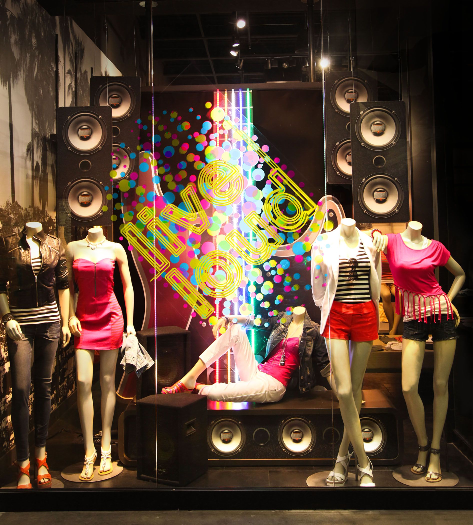 G by guess music festival window display live loud