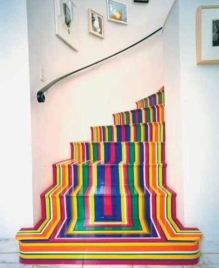 brightly striped stair.