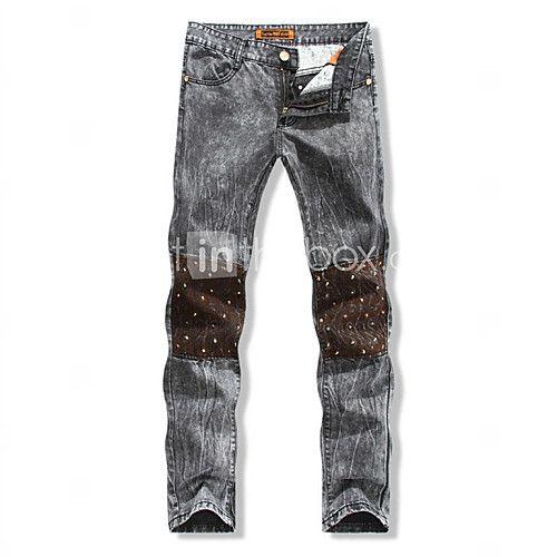 Den nye europæiske og amerikanske mode afslappet slank talje lige mænds jeans knæ syning sømning # 591 - DKK kr422.00