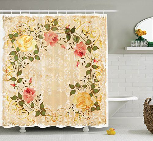 Vintage Decor Shower Curtain Set By Ambesonne Oval Shape Floral Crown With Leaves And Roses