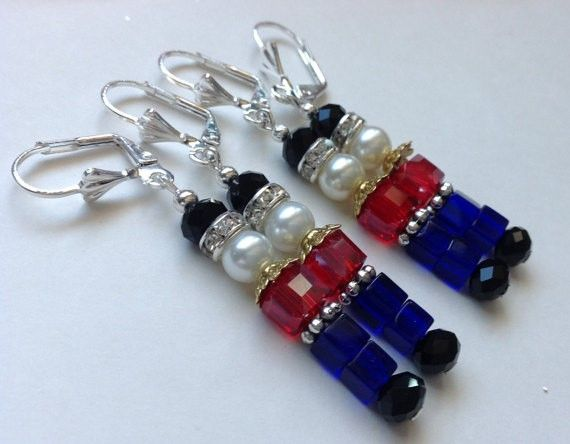 8d45302f1 These adorable and Festive Nutcracker Christmas Earrings are made with Blue,  Black and Red Cubed