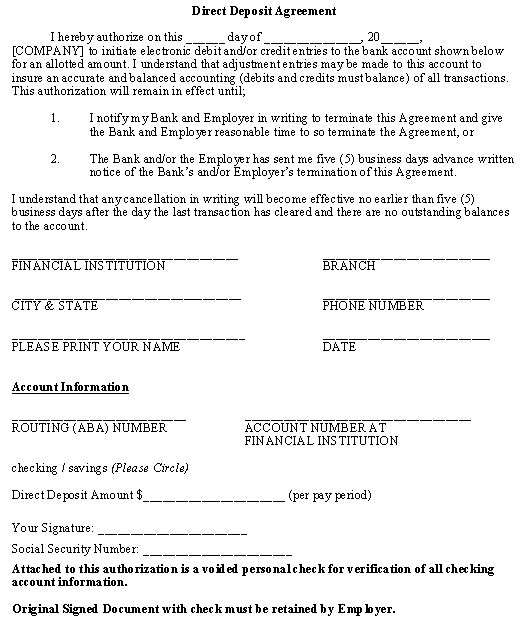 Direct Deposit Agreement Legal Forms Pinterest