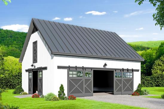 Plan 68581VR: Barn Style Detached Garage Plan With Loft #shedplans #detachedgarage