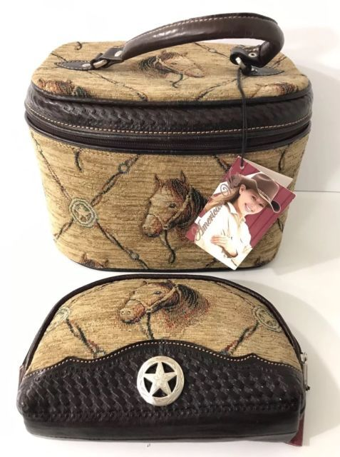 3f8ebba4a4cc AMERICAN WEST Handbag Cosmetic Bag Embroidered Horse Tapestry Travel Makeup  Case