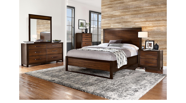 queen bedroom sets  rooms to go  abbott hazelnut 7 pc