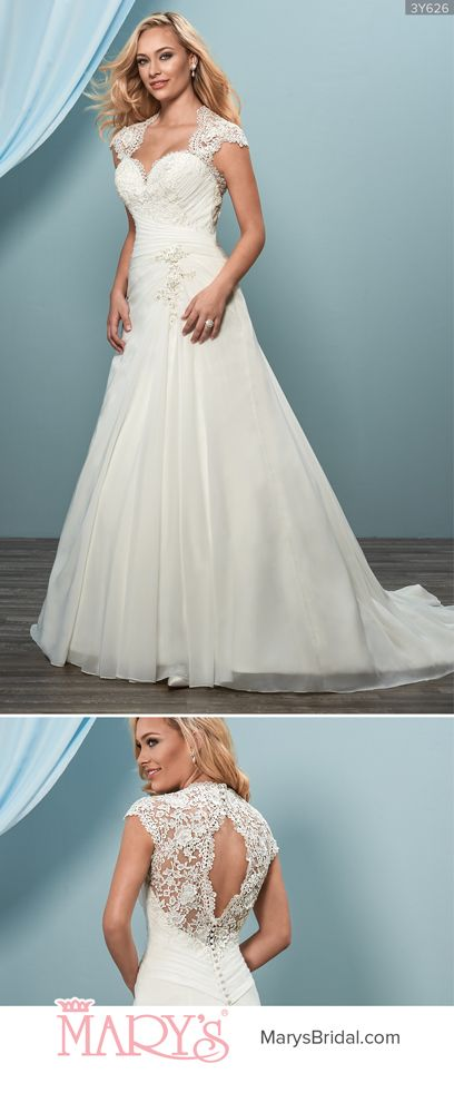 Style 3Y626: Chiffon and lace A-line bridal gown with sweetheart ...