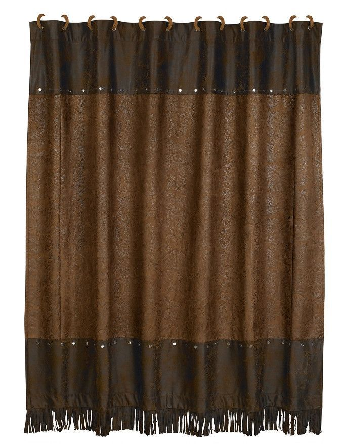 Hxsc1004 Western Faux Tooled Leather Shower Curtain