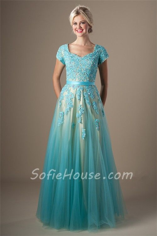 Cute A Line Long Light Blue Tulle Lace Beaded Modest Prom Dress ...