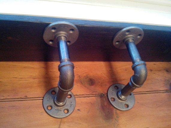 2 black iron steel industrial pipe shelf brackets plumbing steampunk look for shelves. Black Bedroom Furniture Sets. Home Design Ideas