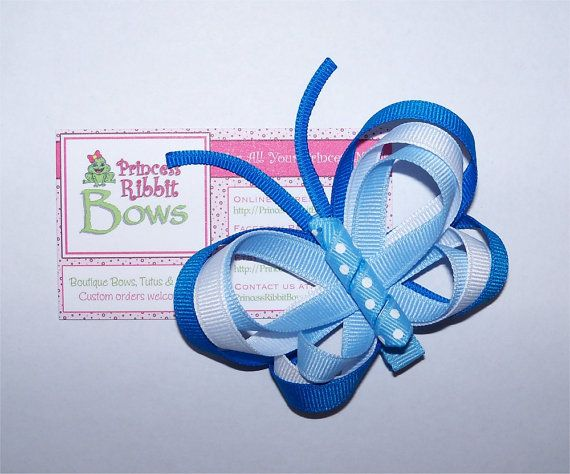 Blue Butterfly Hair Clip (Ribbon Sculpture)