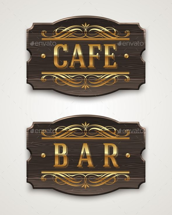 Vintage Wooden Signboards For Cafe And Bar With Golden