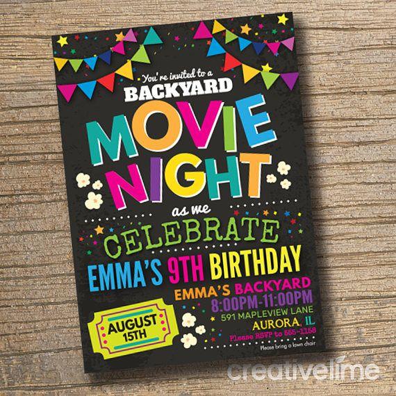 Movie night invitations movie birthday invitations backyard movie movie night invitations movie birthday invitations backyard movie party movie party invitation chalkboard printable stopboris Gallery
