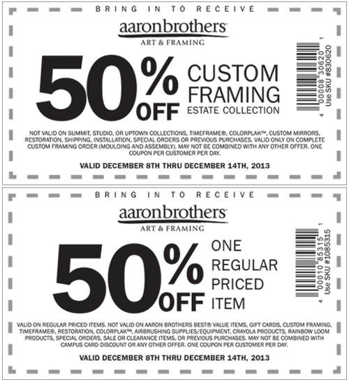 Aaron Brothers Coupons- Get 50% off custom framing or 50% off on ...