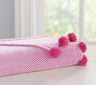 9ffba6c4a Organic Herrington Pom Pom Baby Blanket, Bright Pink