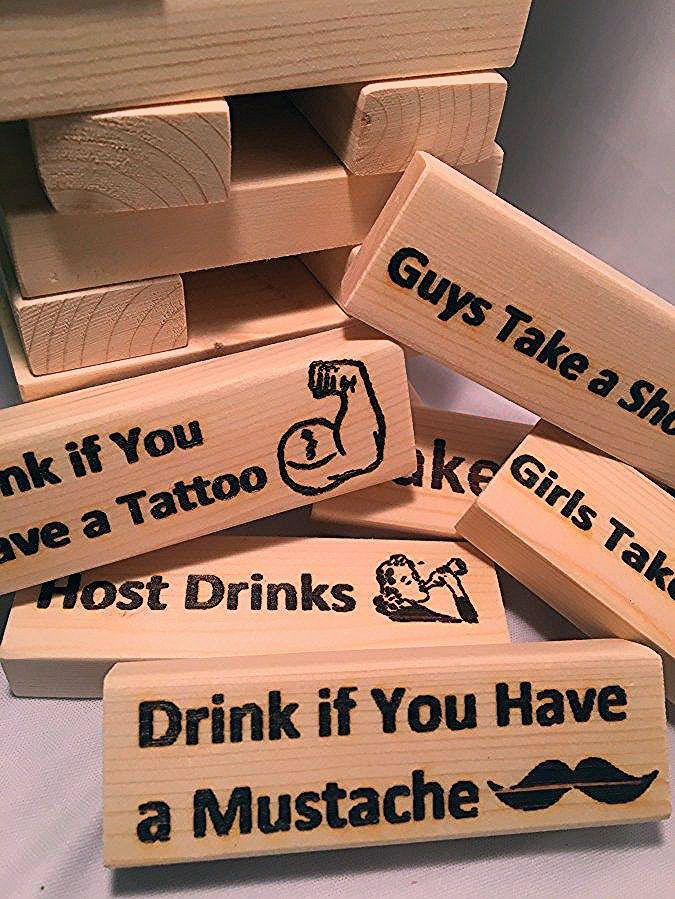 Photo of Laser Engraved Wood Party Blocks Drinking Game