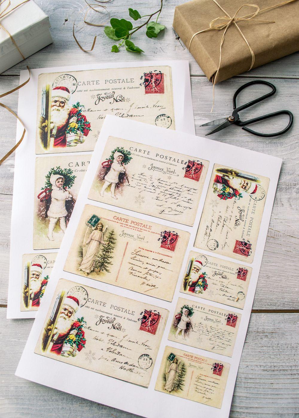 Vintage French Christmas Postcards & free printable! | Crafts ...