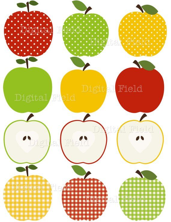 Apple Clip Art Set - red, green and yellow patterned printable