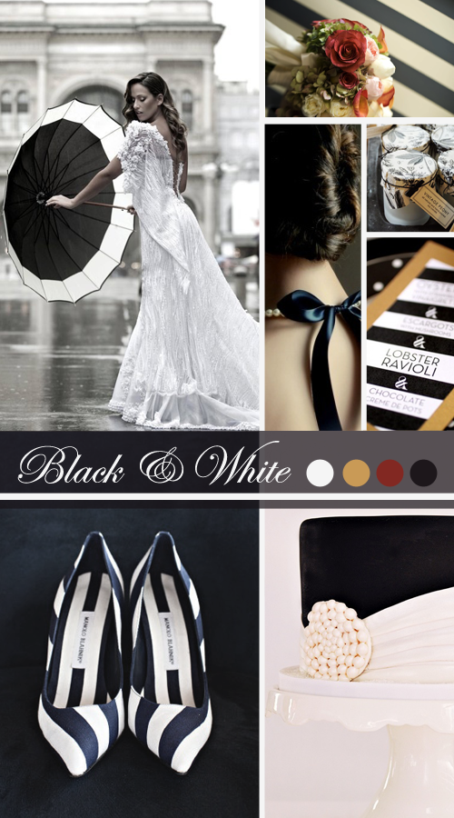 Vintage Inspired Black & White Wedding http://vintagetearoses.com/black-white-wedding-inspiration/ #black #white #monochrome #wedding