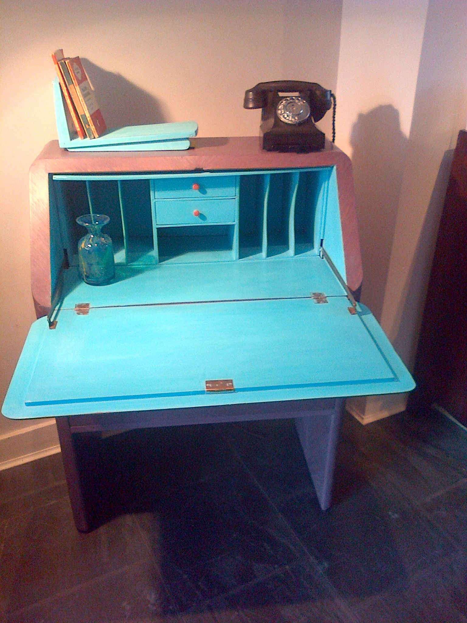 1930s DECO DESK PAINTED & WAXED INTERIOR.