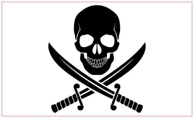 Jolly Roger Screen Printed T-Shirt Pirate Calico Jack Skull Cross Swords Sails