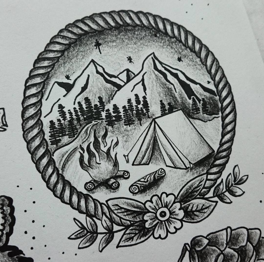 coming home art nature tattoo oldschooltattoo stippletattoo camping tattoo inspiration. Black Bedroom Furniture Sets. Home Design Ideas