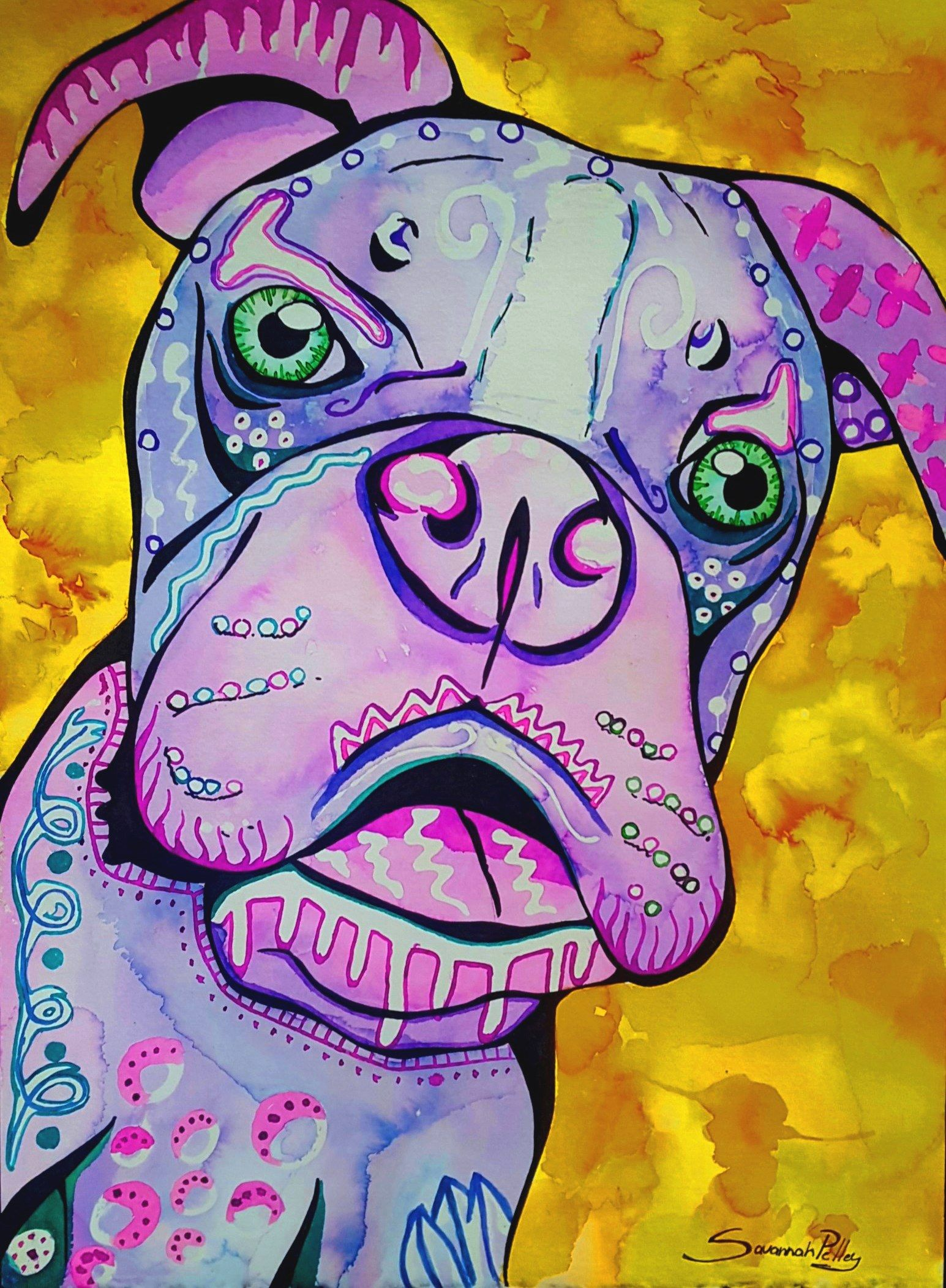 liquid watercolor doodle animals conway high school art