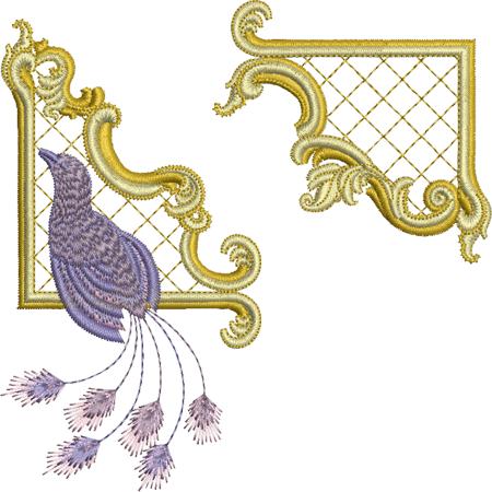 Sue Box Creations   Download Embroidery Designs   22 - Gilt Frame 2 & Bird Set