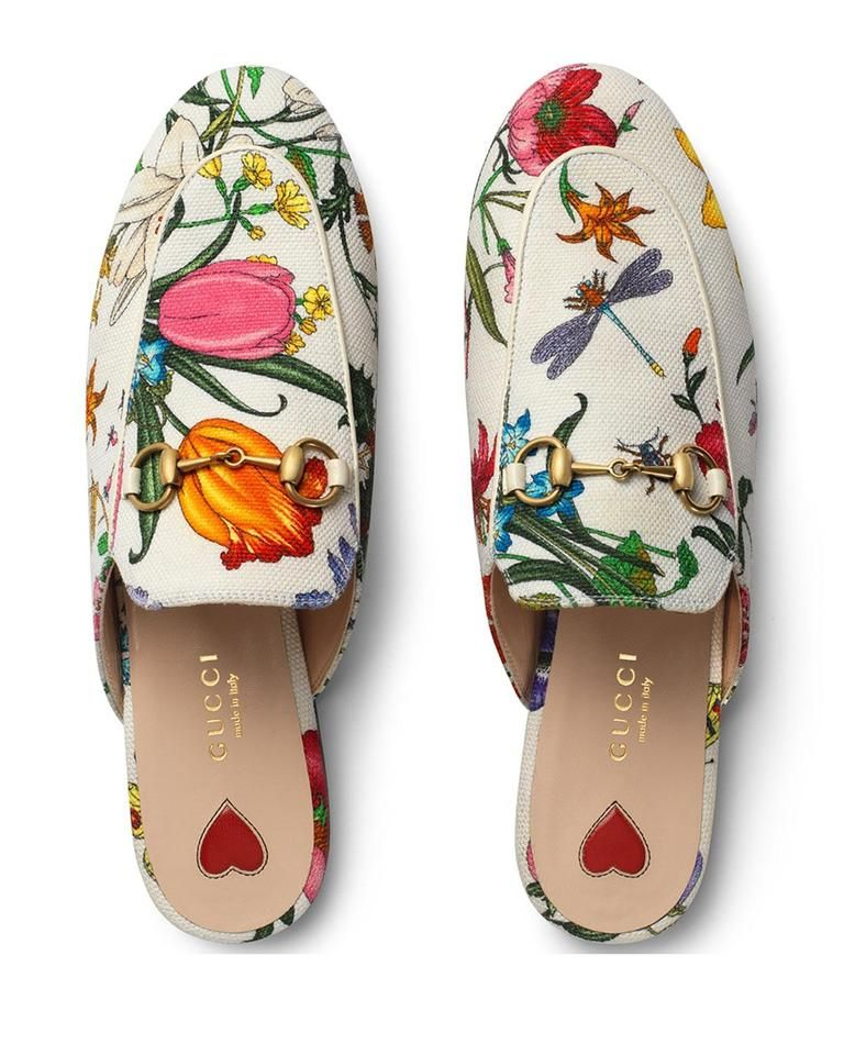 White Princetown Floral Canvas Loafer