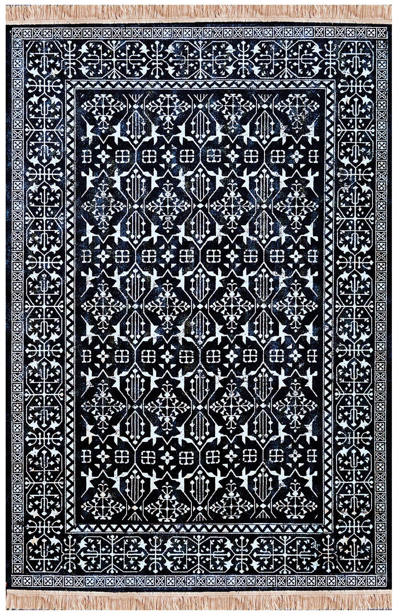 Modern Navy Blue And White Persian Style Fringe Rug Hicks Master