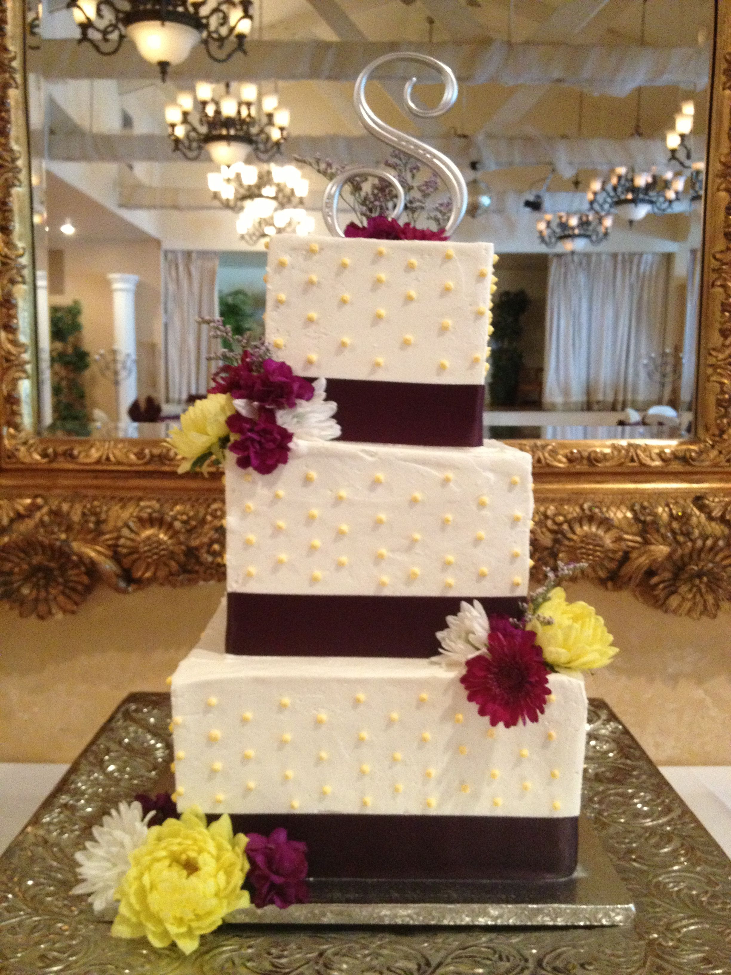 Square Buttercream Wedding Cake With Purple Ribbon Boarder