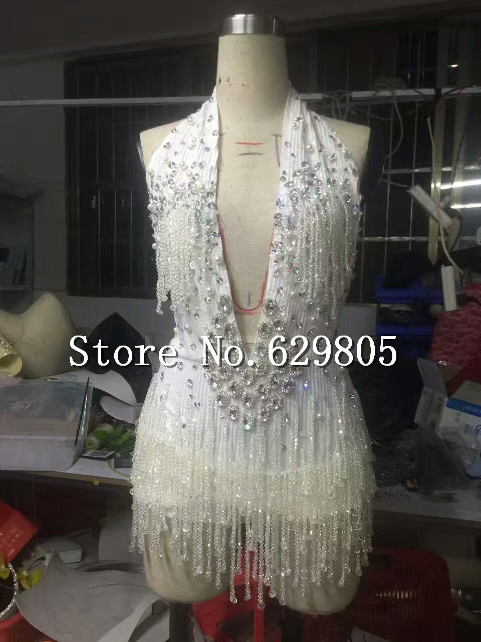 c33b6afcd8eb Glisten Crystals Tassel Bodysuit Rhinestone Shining Sexy Nightclub Wear  Women's Party Female Singer One Piece Dress