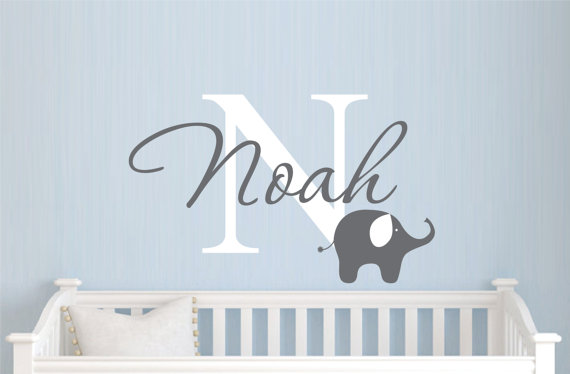 Childrens Name Elephant Wall Decal Boys By Justthefrosting 24 00