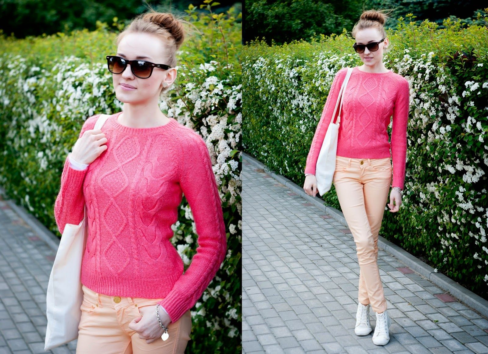 Women's Hot Pink Cable Sweater, Orange Skinny Pants, White Canvas ...