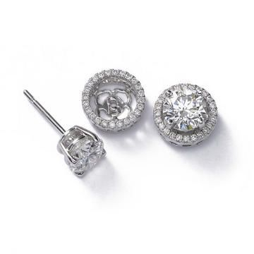 Jacket And Studs Andy I Found What You Can Get Me For Our 10 Year Anniversary I Wanted To Give U Pl Halo Diamond Earrings Earrings Diamond Earring Jackets