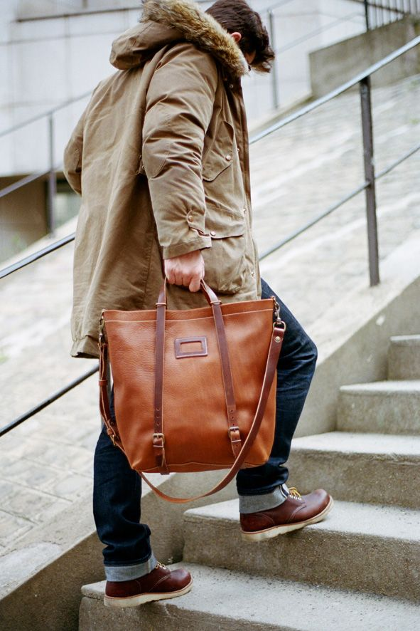 Bleu de Chauffe | Men | Leather tote bag | Nobu shopping bag | Sac ...