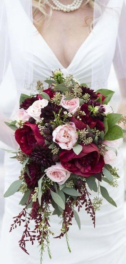 Cascading Bouquet Of Burgundy Black Magic Roses Burgundy Dahlias