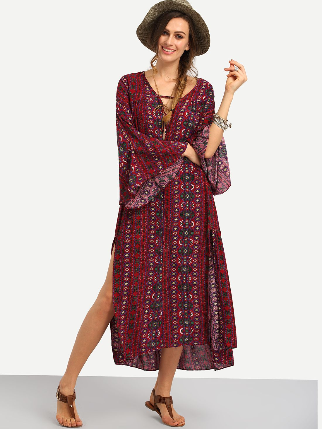 Online shopping for Tribal Print Slit Long Dress from a great selection of women's fashion clothing & more at MakeMeChic.COM.
