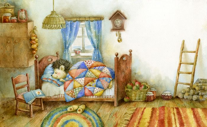 Спящий ежик картинки рисунки, открытка