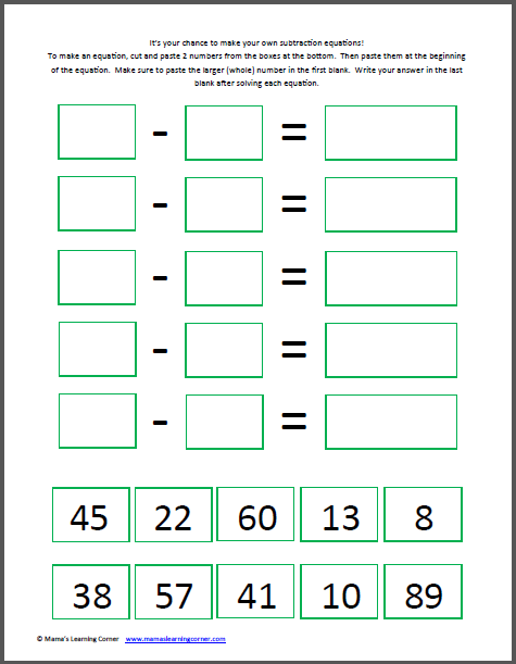 Make Your Own Subtraction Worksheet (Cut & Paste | Make your own ...